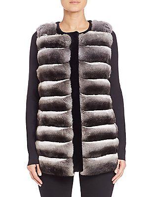 The Fur Salon Collarless Chinchilla & Sheared Mink Fur Vest