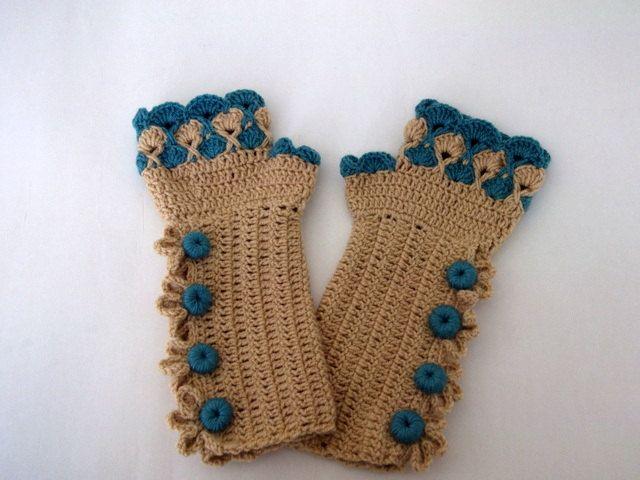 Oil Green and Camel Color Crochet Fingerless Gloves/oil-green button ...