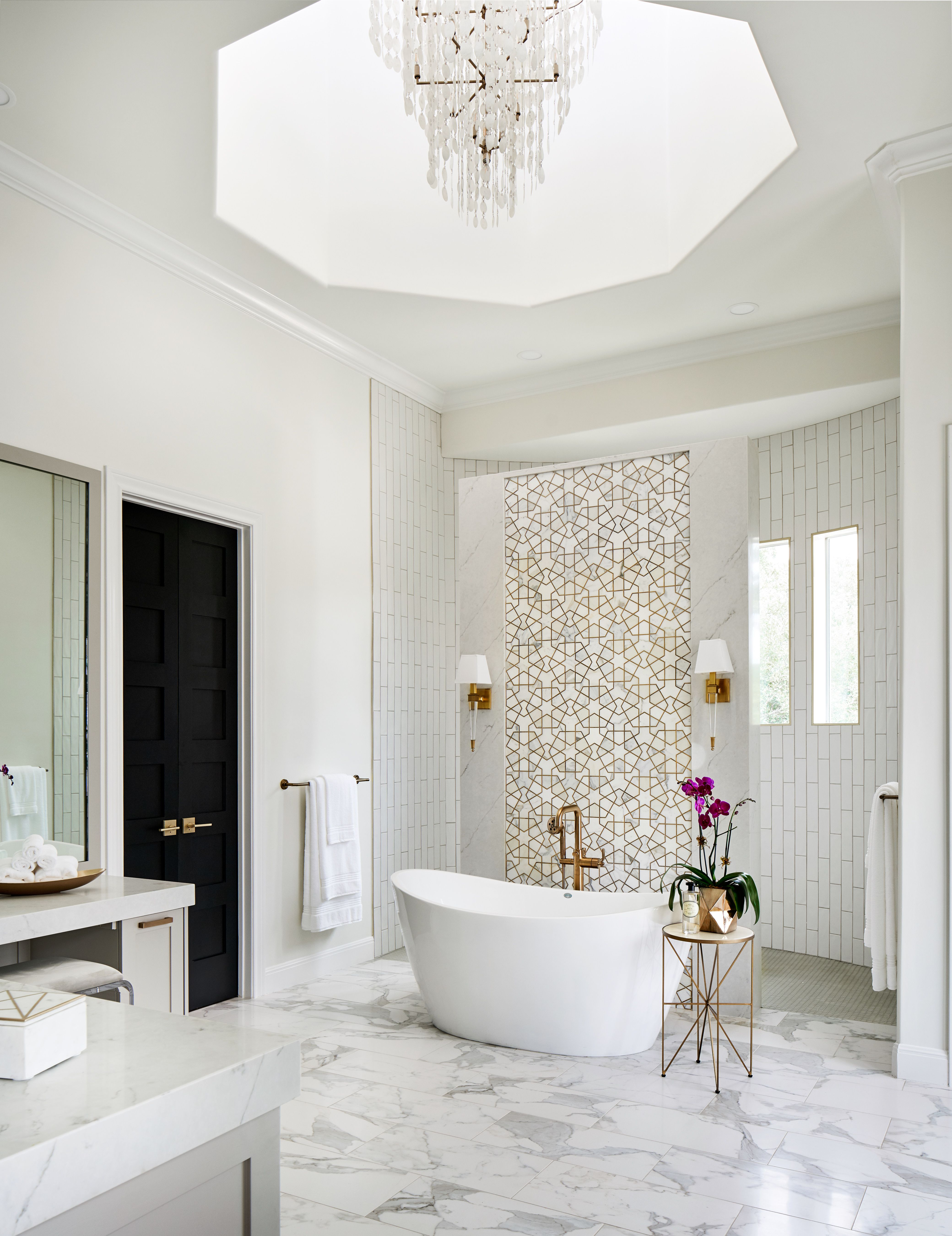 This Luxurious Master Bath Features A Freestanding Tub A Shell