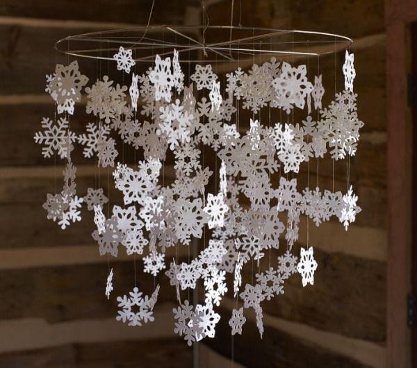 papier schneeflocken kronleuchter weihnachtsdeko basteln alu ring ...