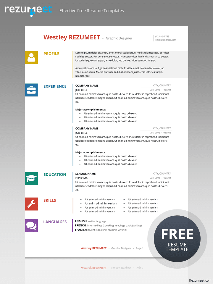 Wynwood Free Multicolor Resume Template For Word Resume Template Resume Templates Resume