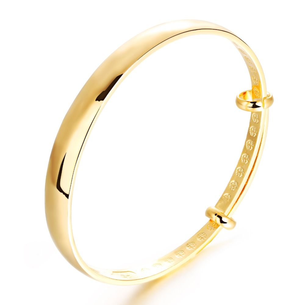 Classic real yellow smooth adjustable bangle bracelet for women mom
