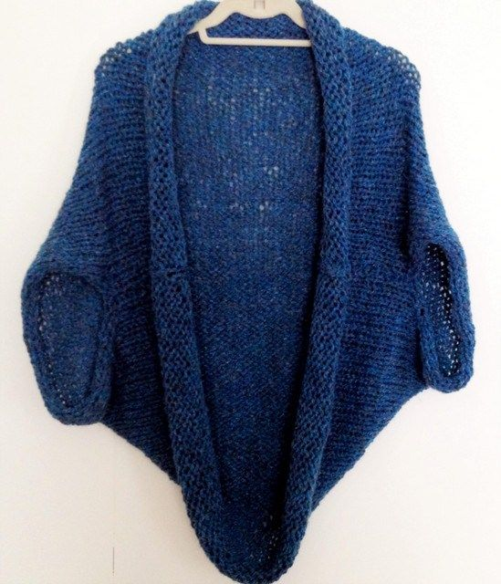Blue Hand Knit Shrug Free Easy Knitting Pattern Shrug