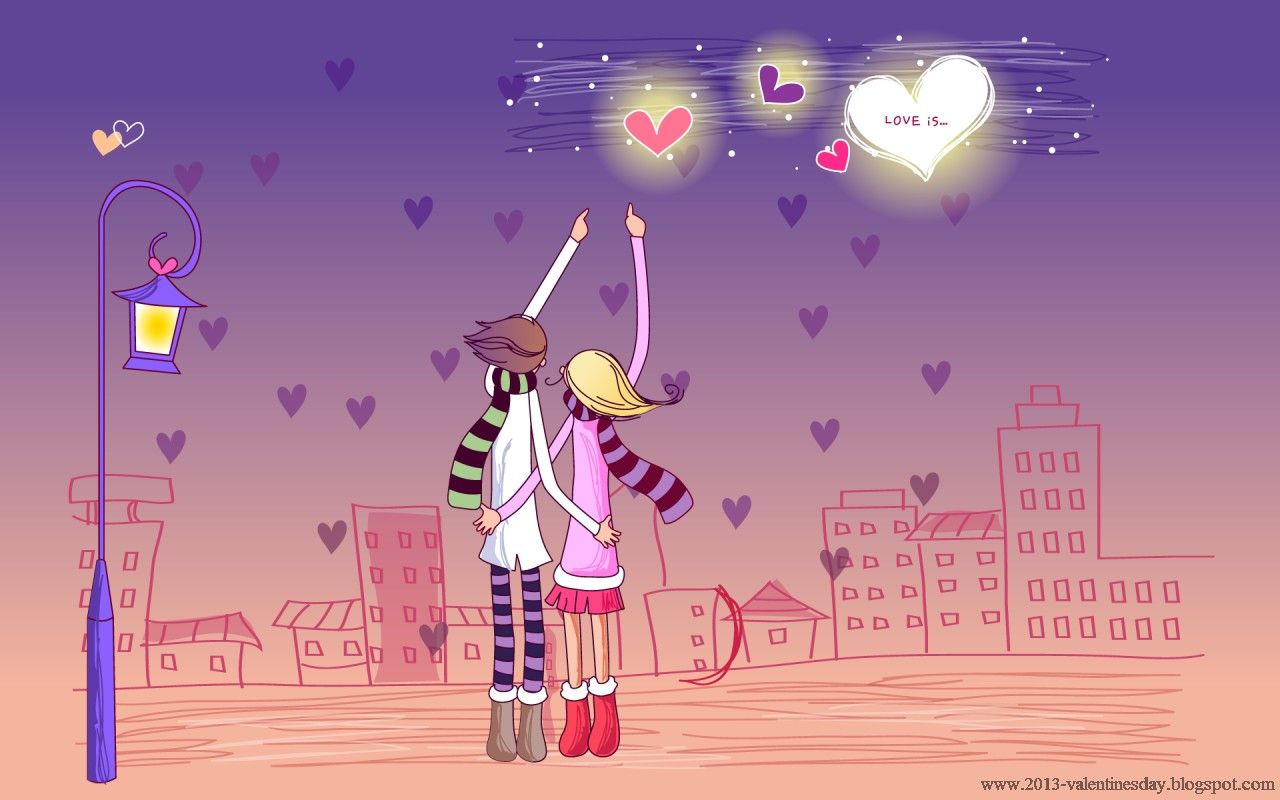 Cute Valentine S Day Wallpaper Cute Cartoon Couple Love Hd