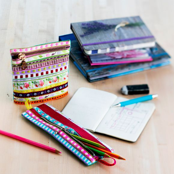 Onko käsityölaatikkosi pohjalle kertynyt nauhanpätkiä? Pengo ne esille, osta tarvittaessa muutama pätkä lisää ja ompele penaali tai pussukka.Tarvitset: puu