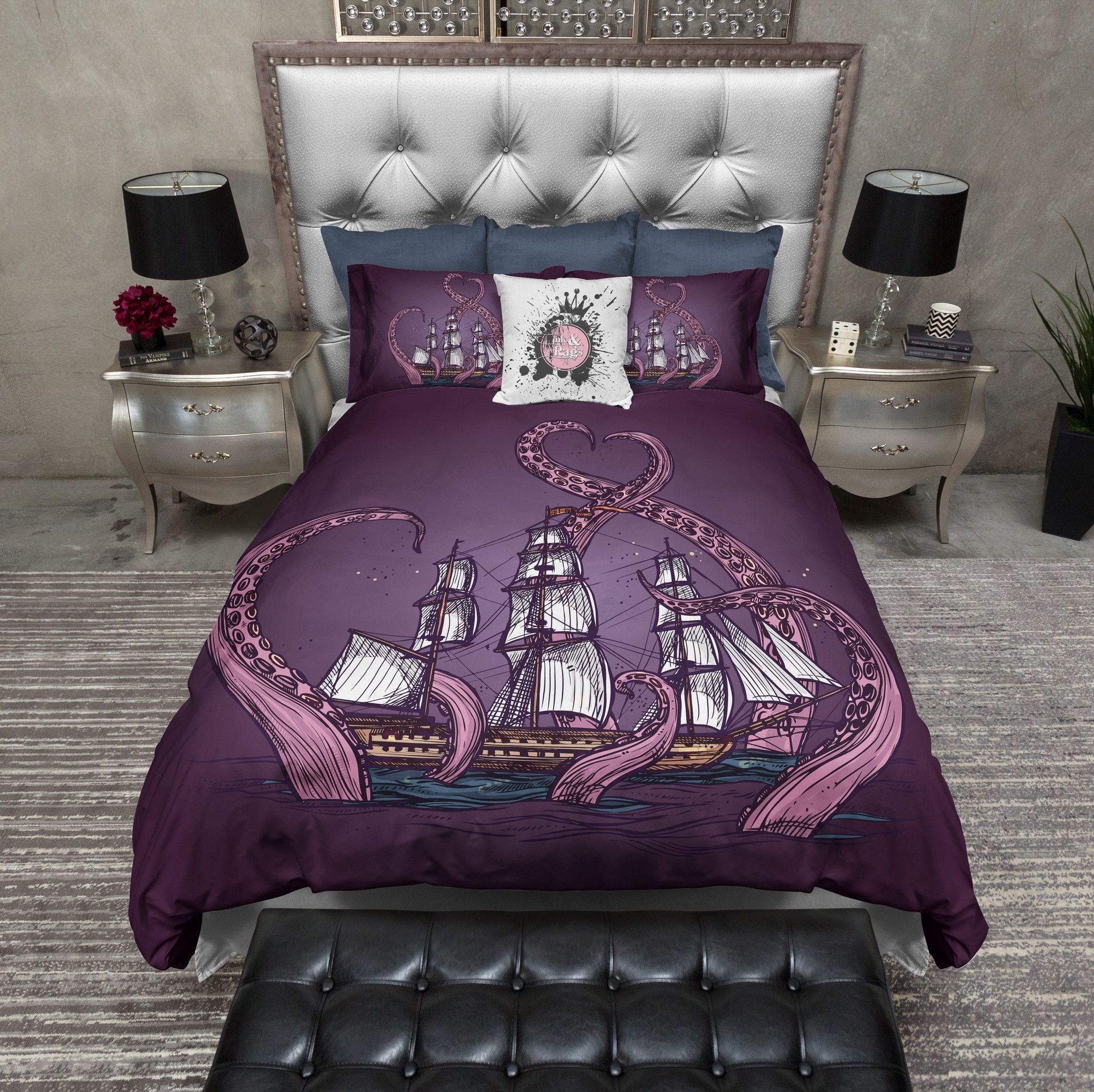 Deco Chambre Maryline Monroe purple octopus kraken ship bedding | parure de lit