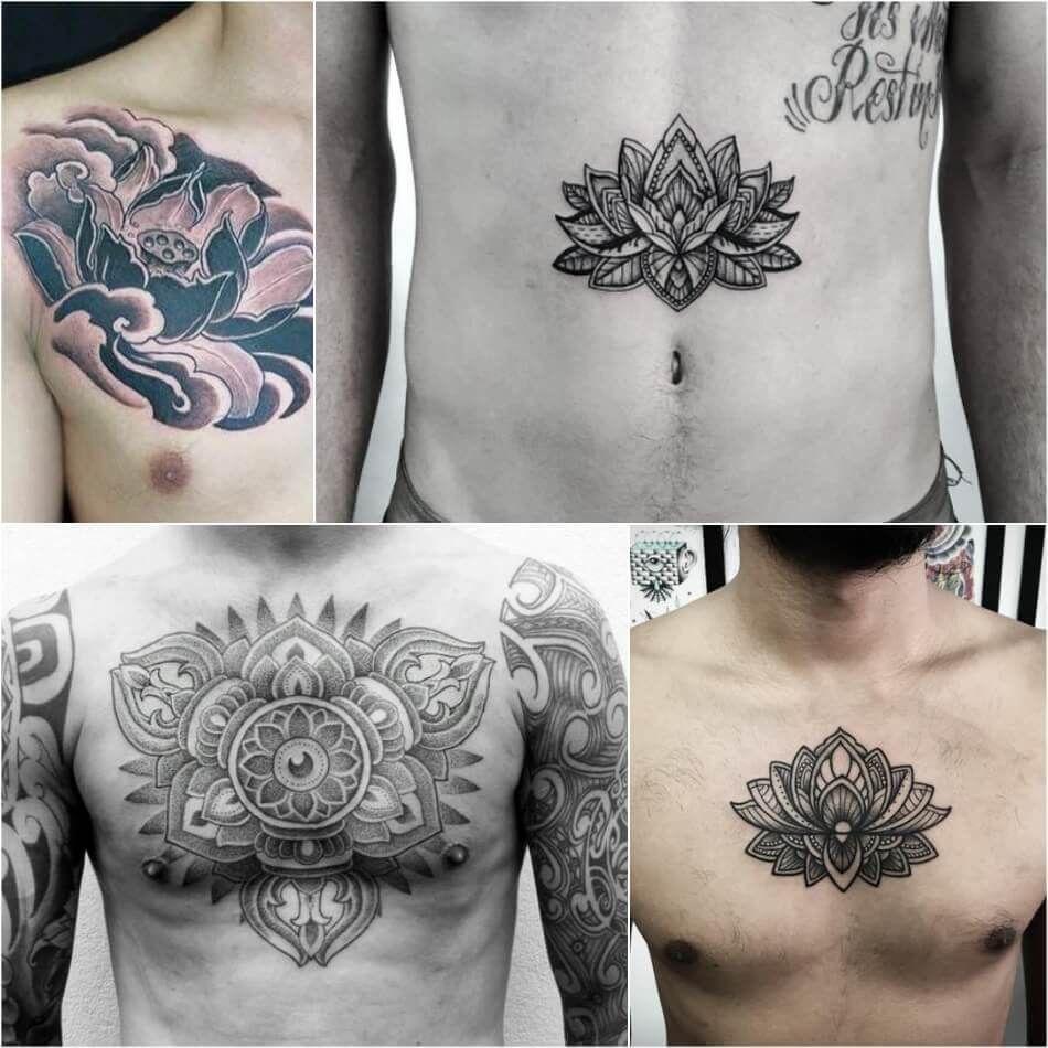 Lotus Flower Tattoo Men Chest Tattoos Ideas