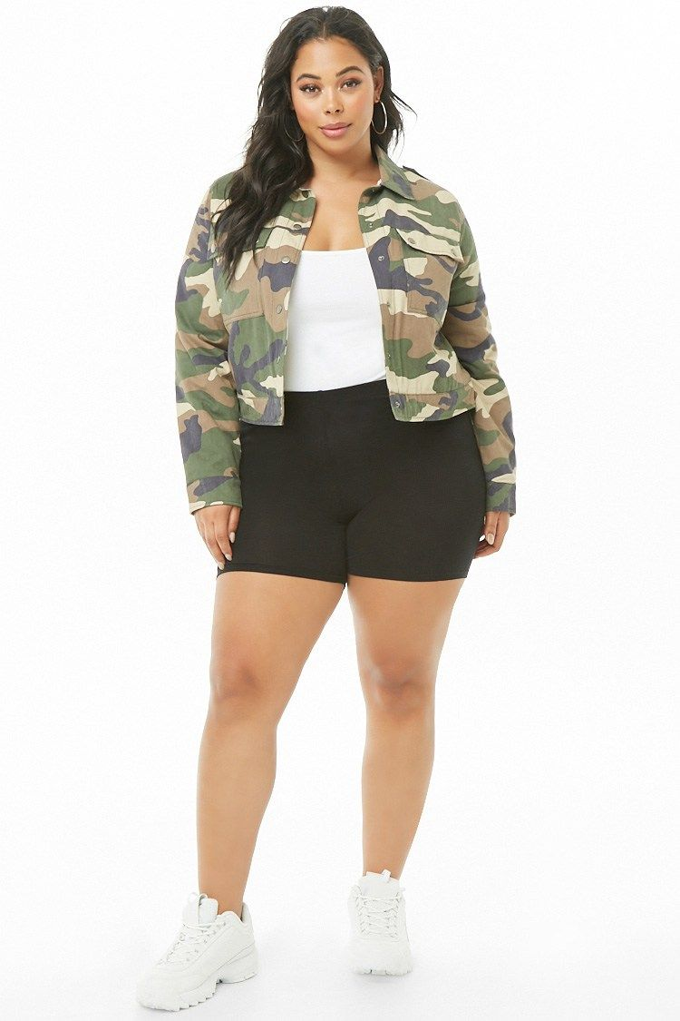 e84e2cef8c Plus Size Faux Shearling-Lined Camo Jacket