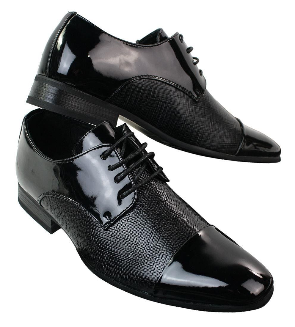Mens Patent Black Laced Shoes Textured Pattern Design