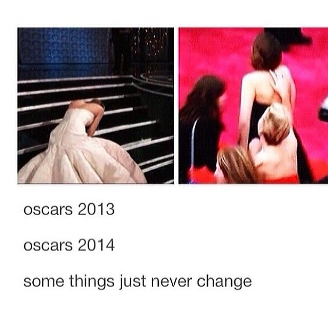 I love her so much -- Jennifer Lawrence falling at the Oscars 2013 vs 2014