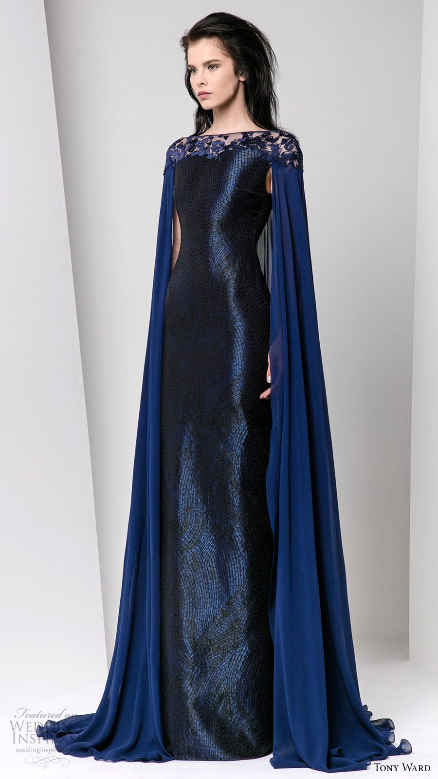 80ad4dd940 tony ward fall winter 2016 2017 rtw cape sleeves illusion bateau neckline  sheath evening dress deep blue wedding inspiration