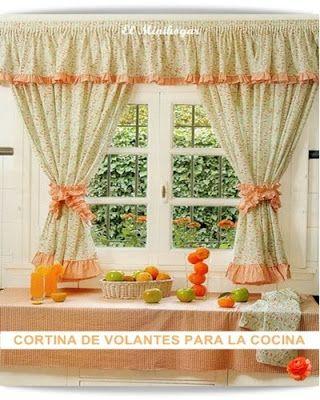 Con arandela perdele pinterest cortinas cortinas for Disenos de cortinas para cocinas modernas