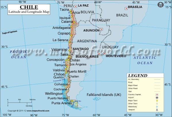 Chile Latitude And Longitude Map Con Imagenes Mapa Politico