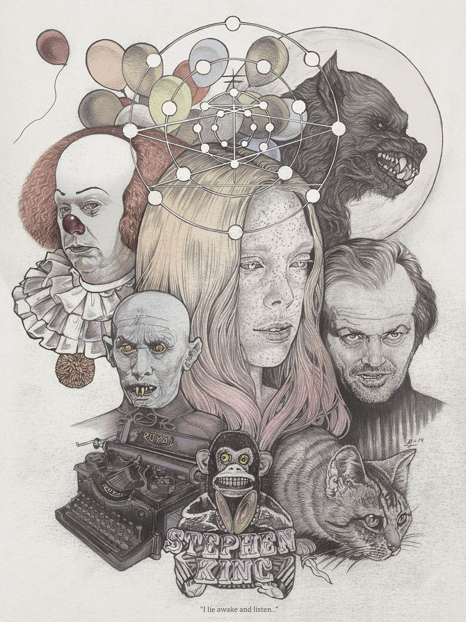 """I lie awake and listen..."" by Martine Johanna (illustration of Stephen King books)"