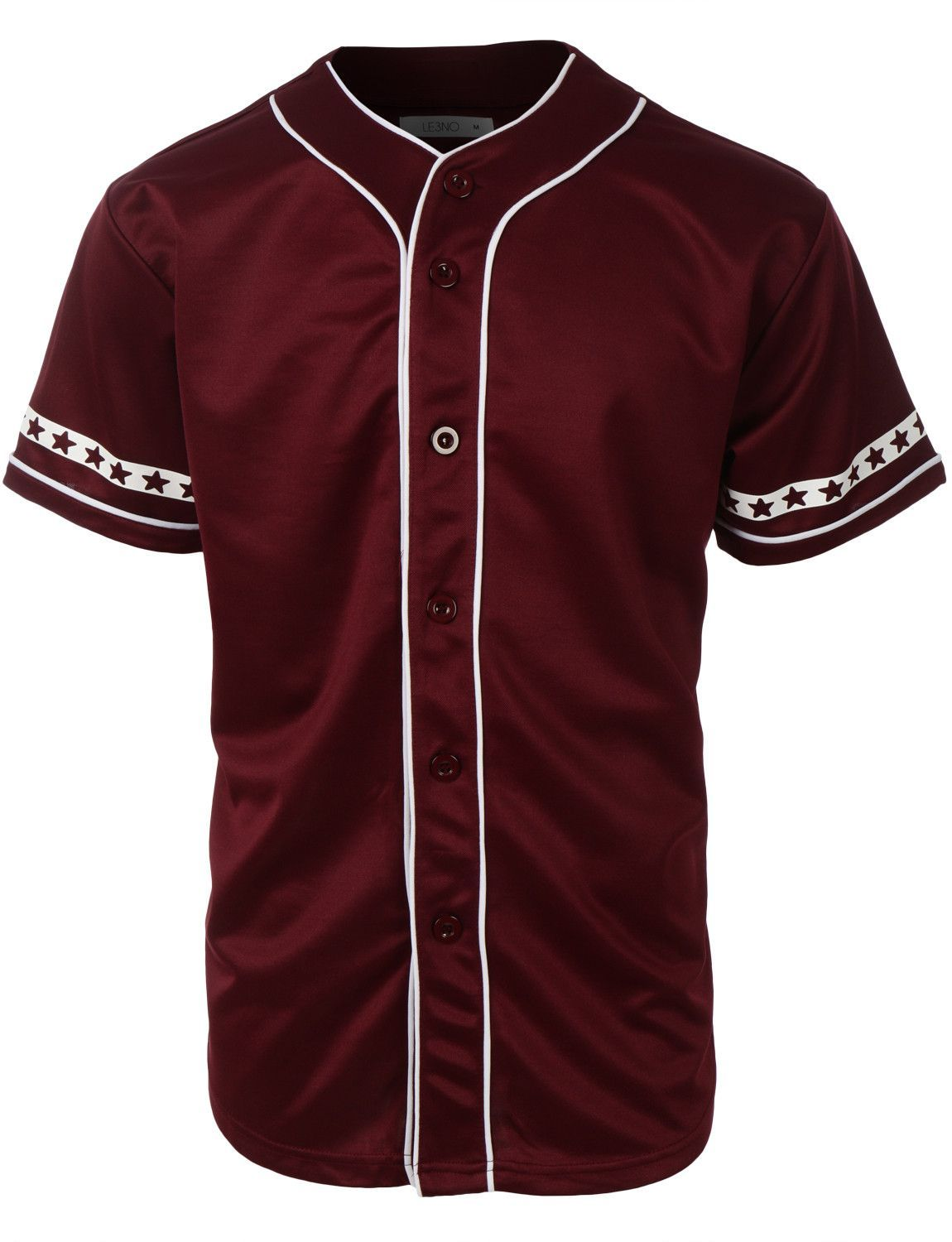 6da15dfc022 Gear up for baseball season in this varsity short sleeve button down  baseball jersey with design print. Its perfect for outdoors activities or  weekend ...