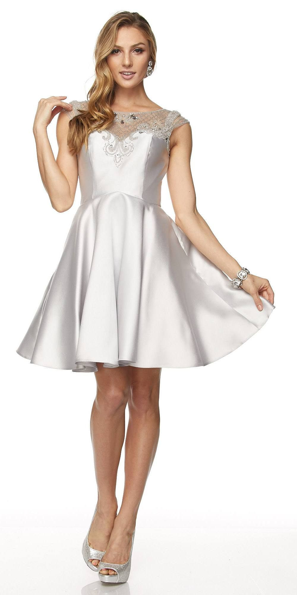 Juliet blush cap sleeves illusion beaded neckline short prom