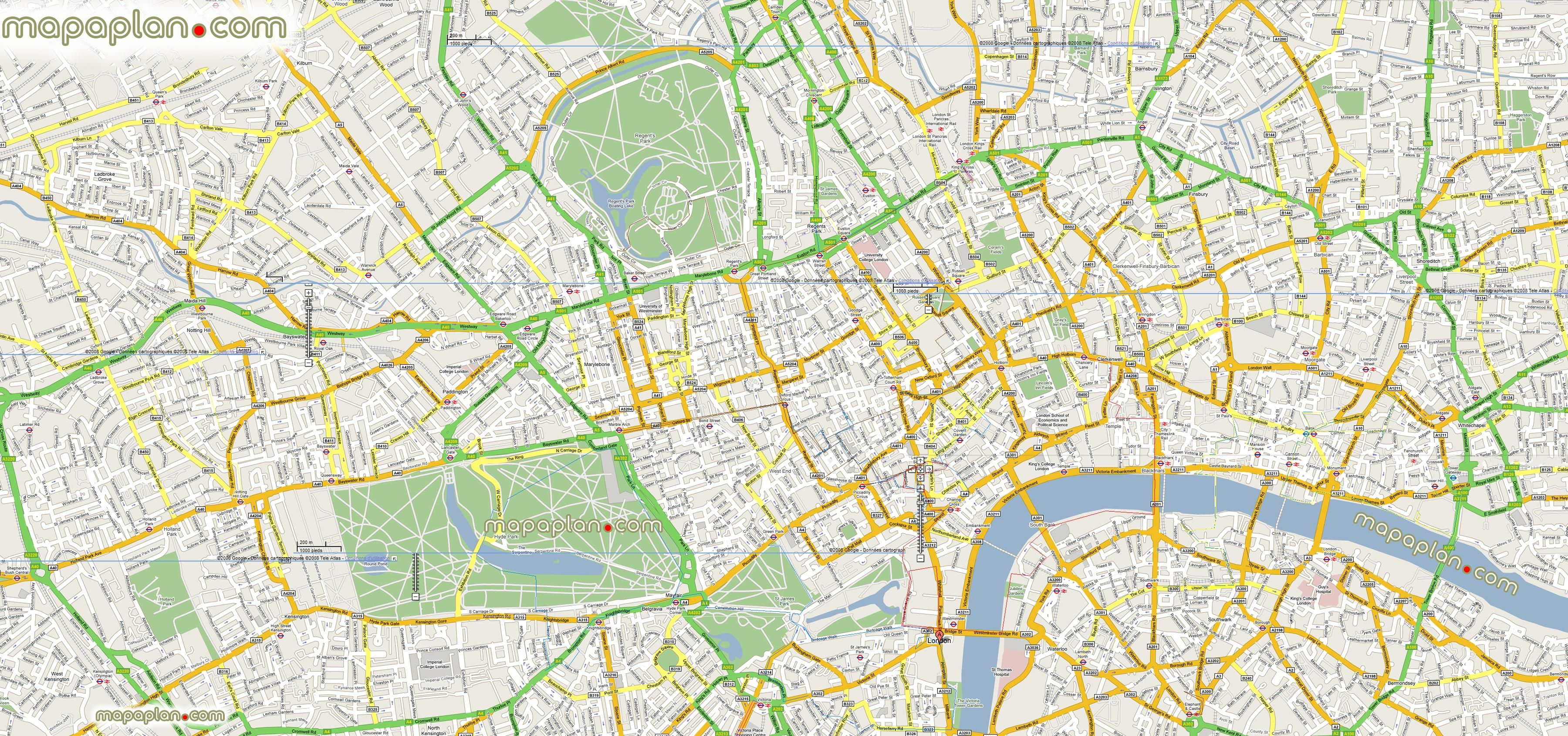 google maps offline mashup prints London top tourist attractions map