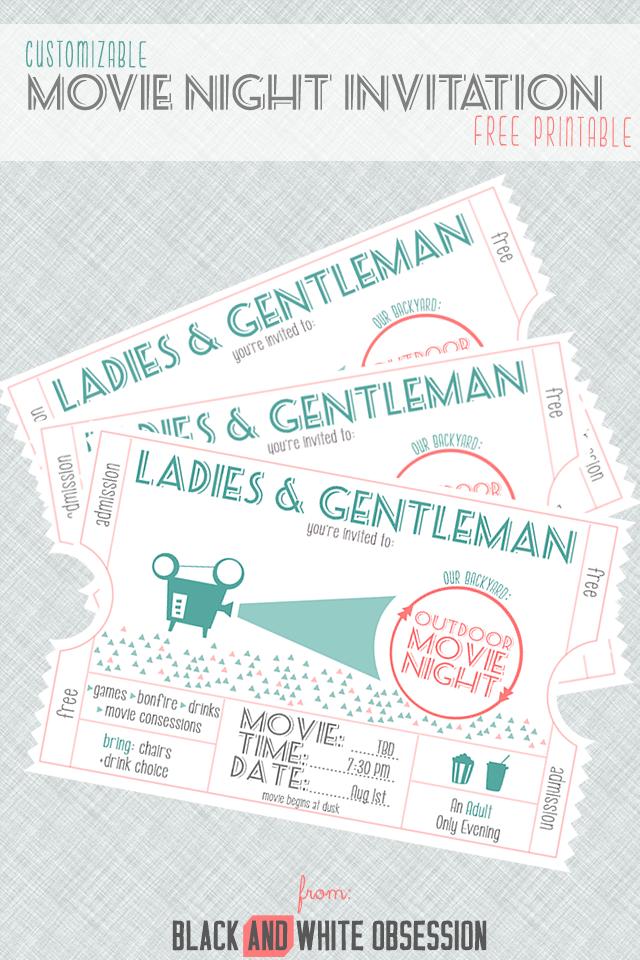 Free Customizable Movie Night Invitation | Movie night invitations ...