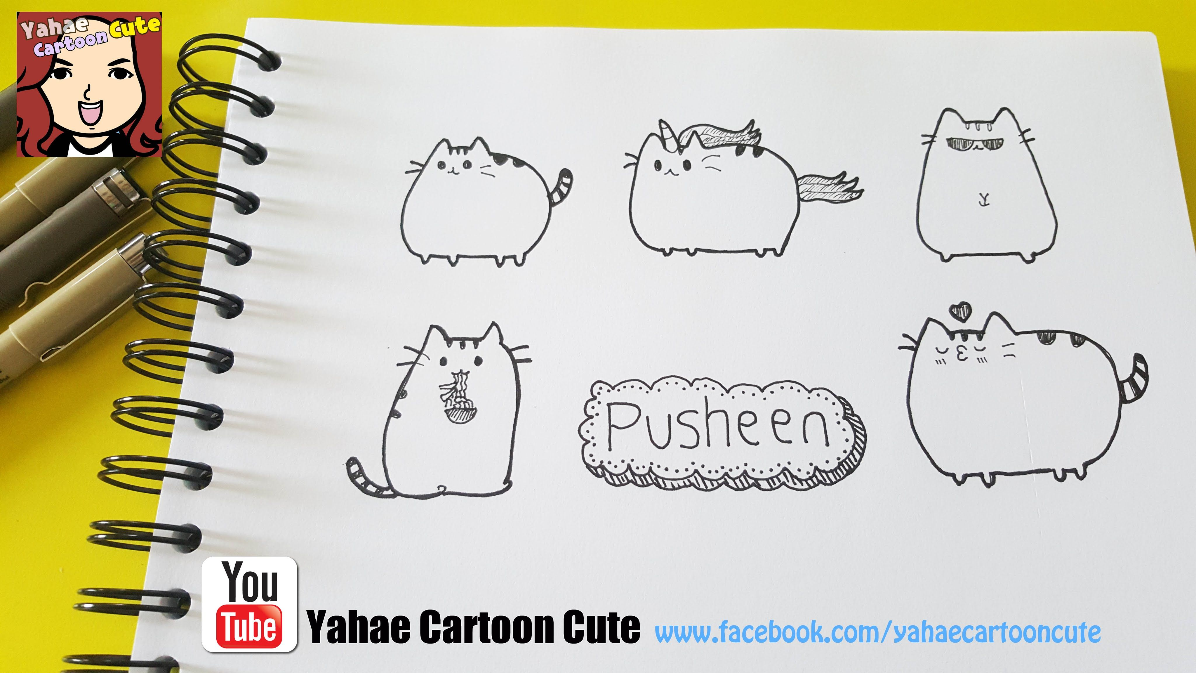 Easy To Draw Cartoon Pusheen สอนวาดร ปการ ต นเจ าแมวอ วน พ ชช น ศ ลปะ