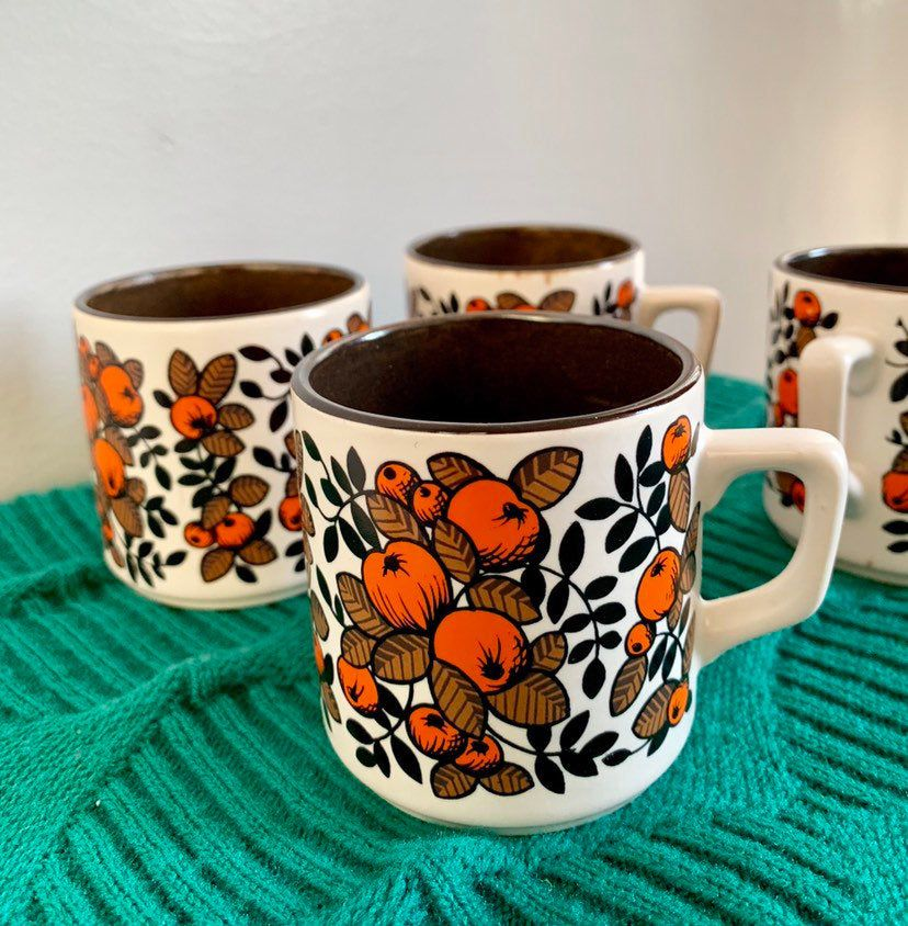 4 Vintage Espresso Coffee Cups Ceramic Orange Floral Coffee Cups