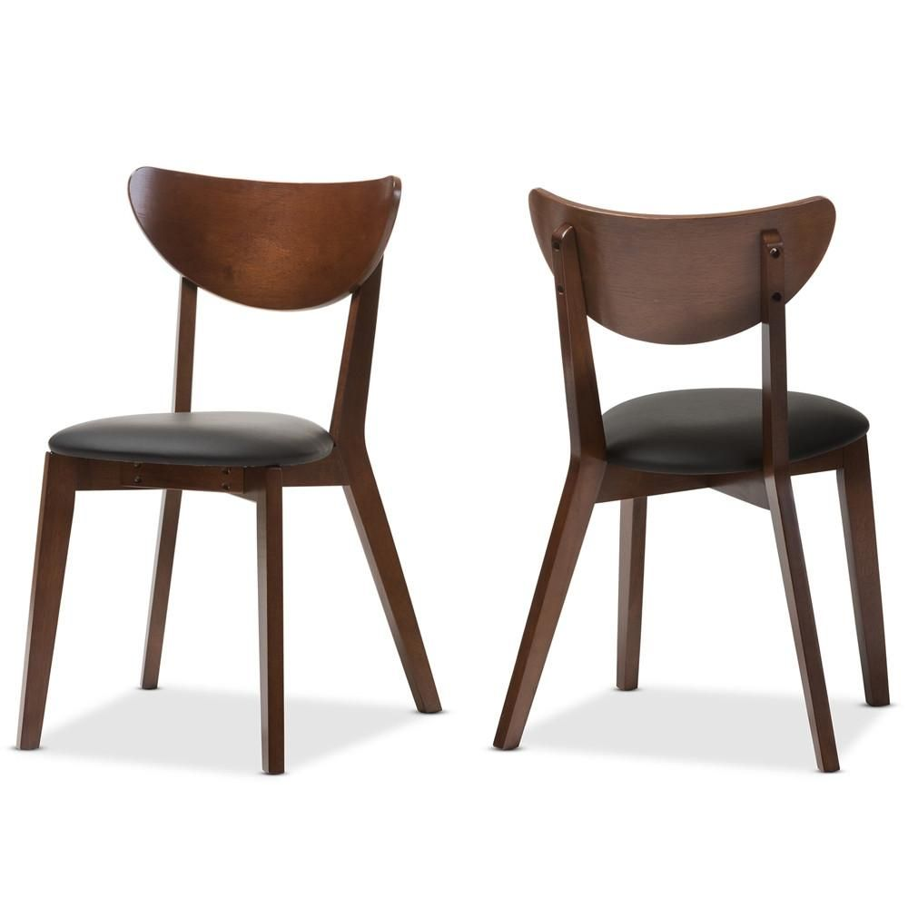 16 Absolutely Gorgeous Mediterranean Dining Room Designs: Sunny Mid-Century Walnut Brown Dining Chair Set Of 2 In
