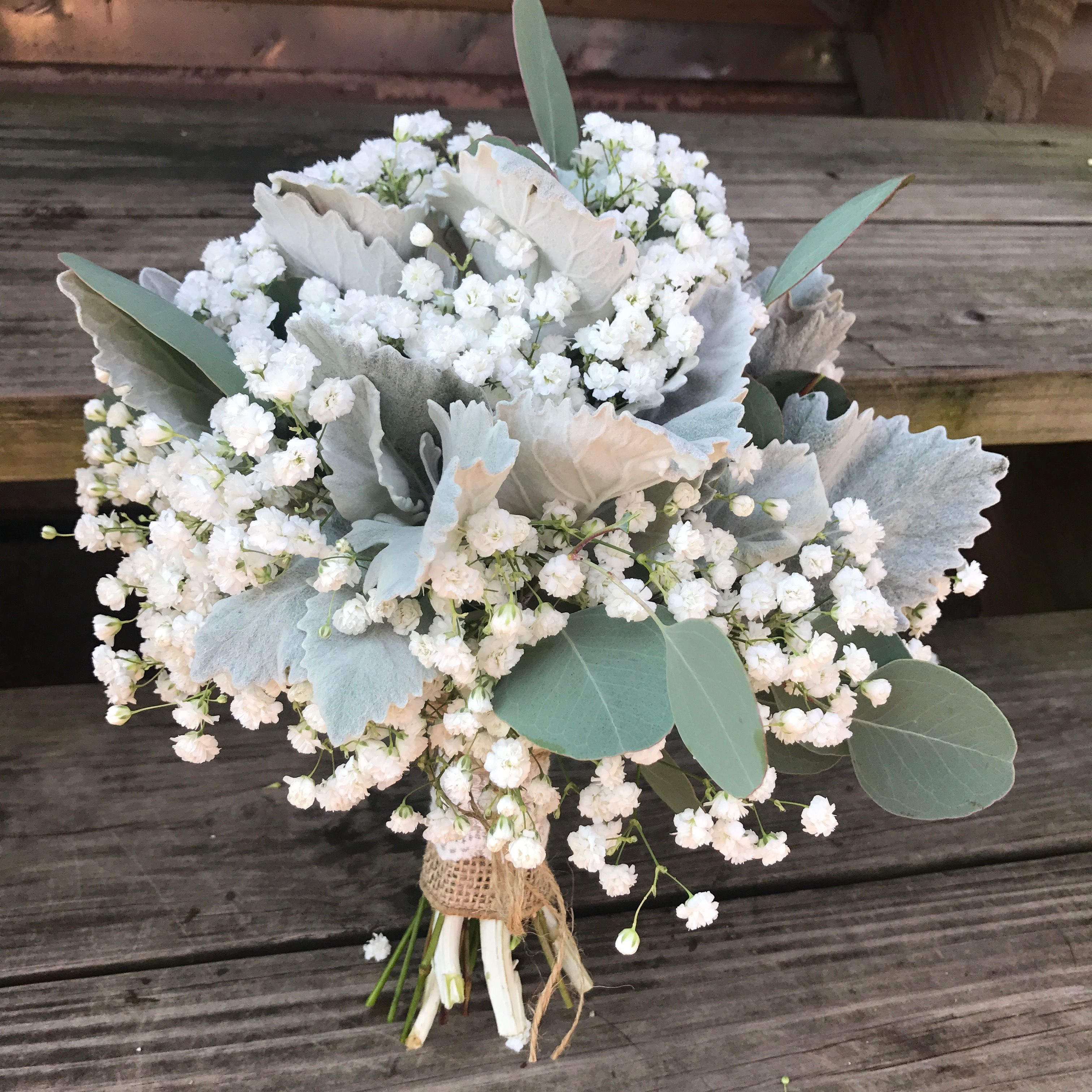 Hand Tied Bouquet Of Baby S Breath Dusty Miller And Eucalyptus With A Burlap And Wedding Centerpieces Mason Jars Bridesmaid Bouquet White Babys Breath Bouquet
