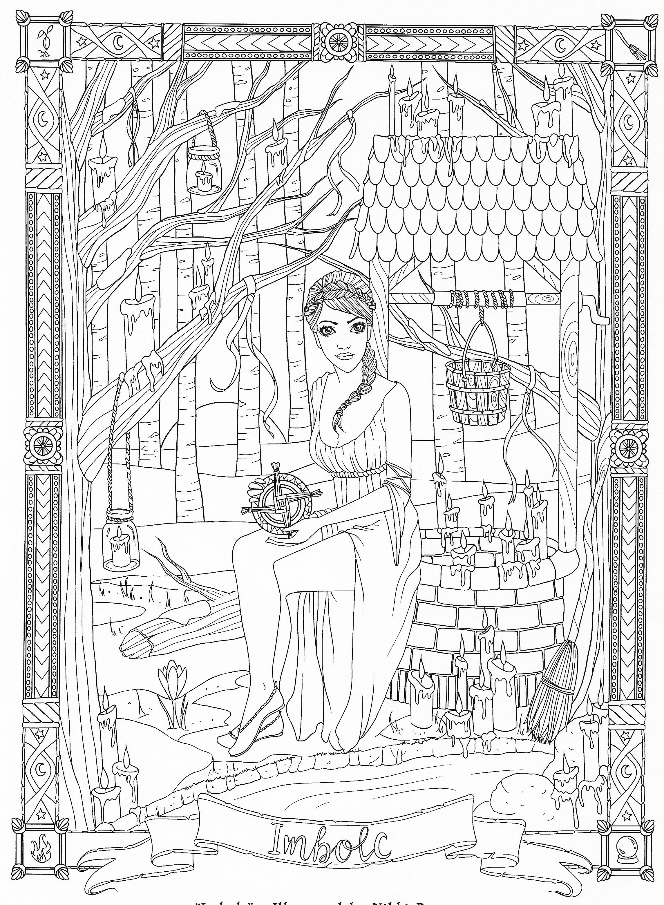 maiden sitting by a well colouring page zentangles
