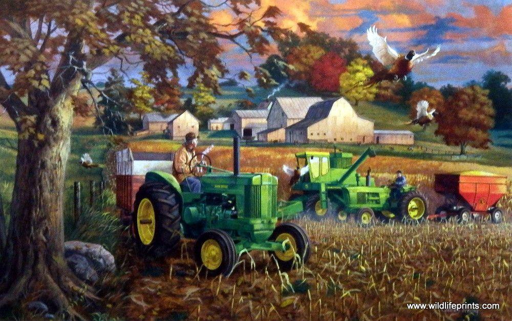 Fall Deer And Farm Scene Wallpaper Border Charles Freitag Bumper Crop Farmhouses Amp Barns