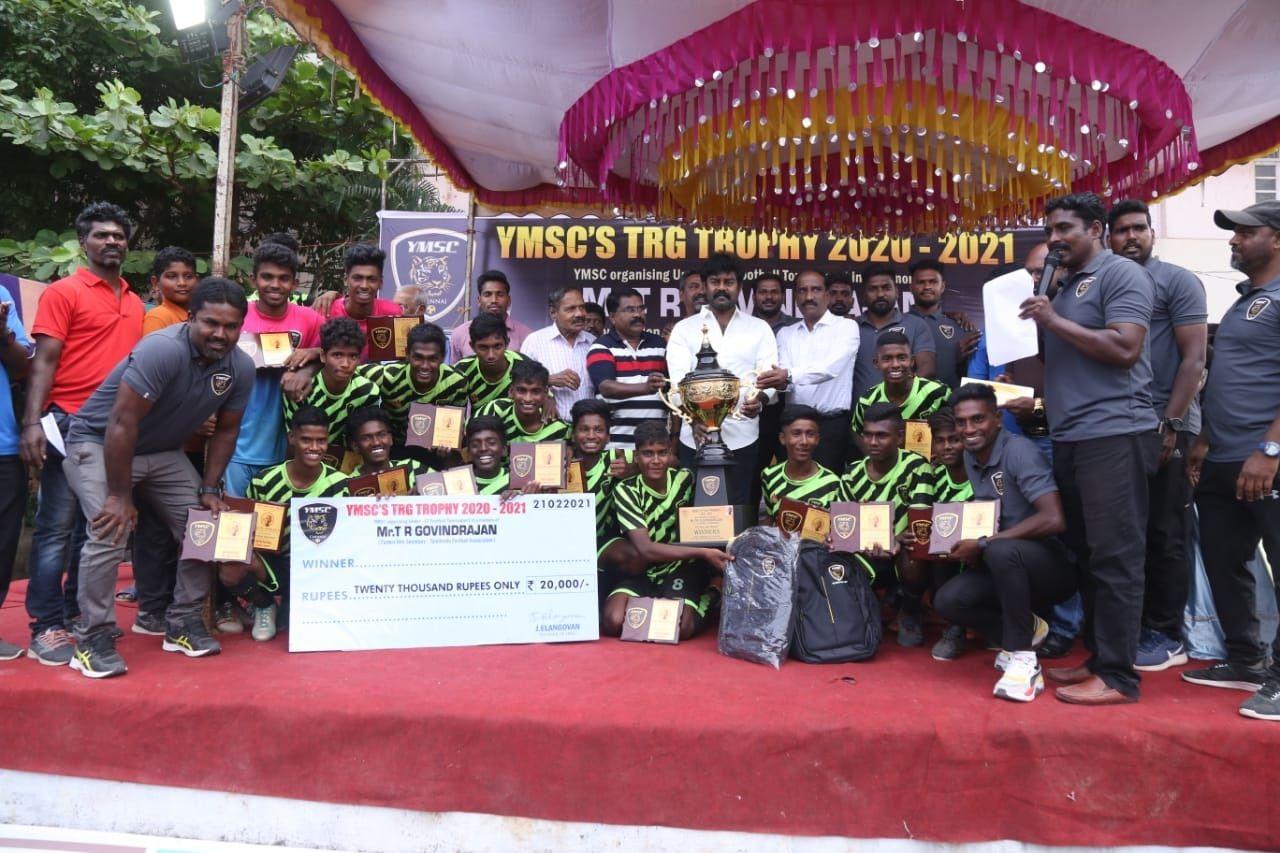 தயாரிப்பாளரும் நடிகருமான R K சுரேஷ் கலந்து கொண்ட 17 வயதுக்குட்பட்டோருக்கான மாநில அளவிலான TRG நினைவு கால்பந்தாட்டப் போட்டி