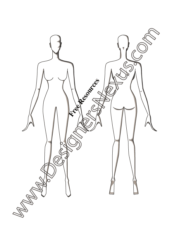 Front & Back Poses Female Croqui Fashion Sketch Template - FREE Adobe Illustrator & high quality PNG download at www.designersnexus.com!
