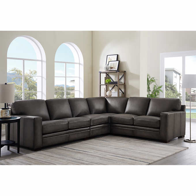 Luca 4 Piece Top Grain Leather Sectional In 2020 Top Grain Leather Sectional Leather Sectional Grey Leather Sectional
