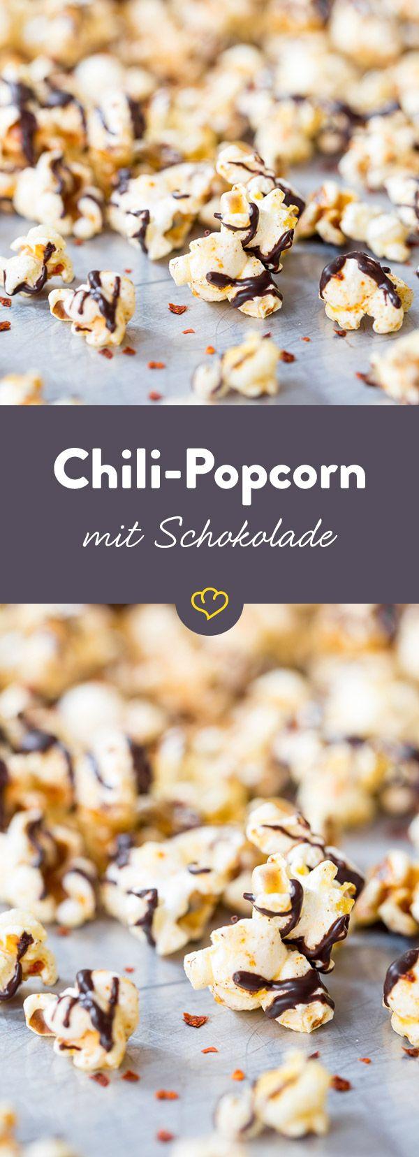 feurig s er knabberspa chili popcorn mit dunkler schokolade rezept c snacks rezepte. Black Bedroom Furniture Sets. Home Design Ideas