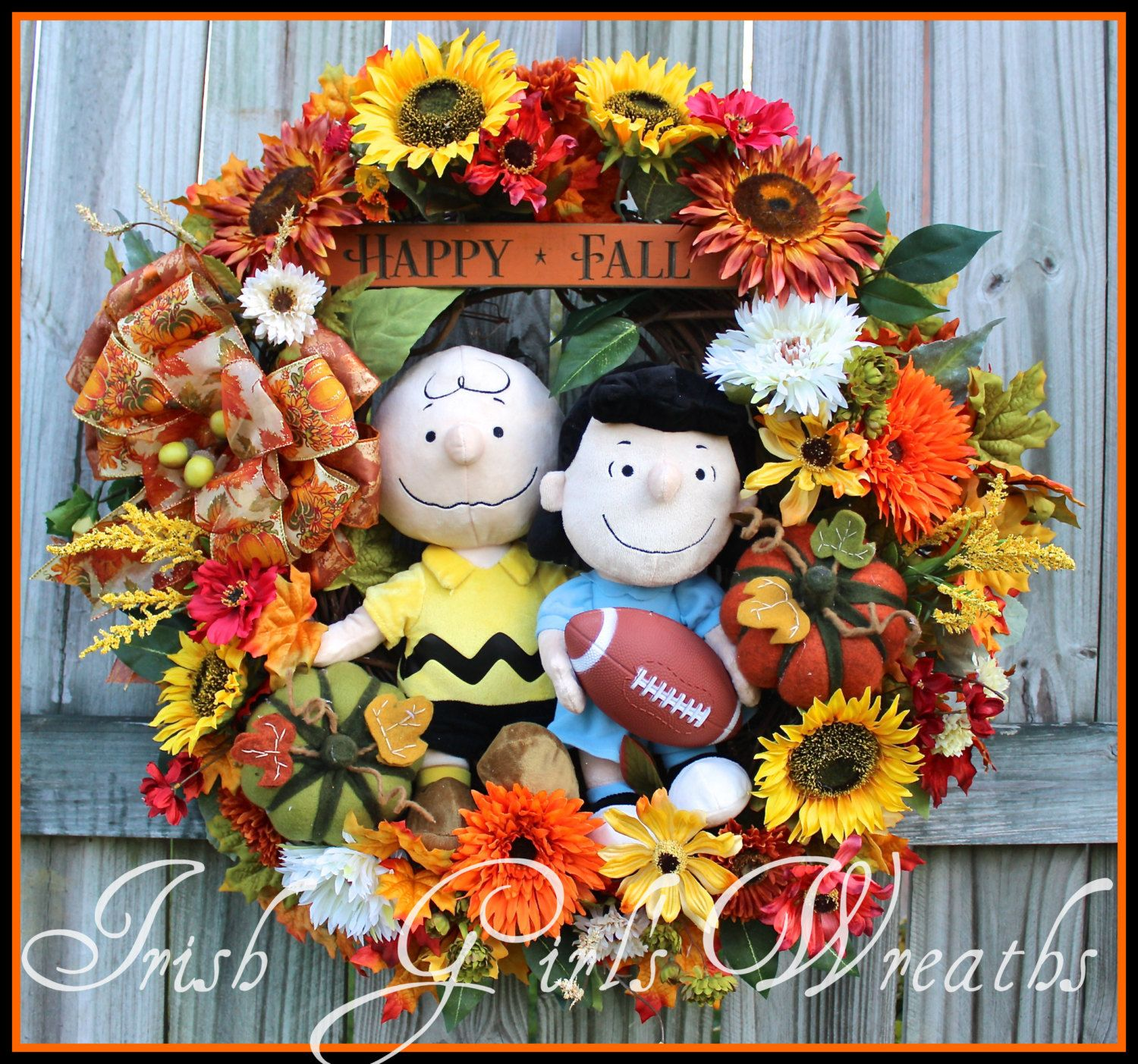 Charlie Brown & Lucy with Football Happy Fall Wreath, Peanuts Wreath, large, Sunflower, felt covered Pumpkin by IrishGirlsWreaths on Etsy