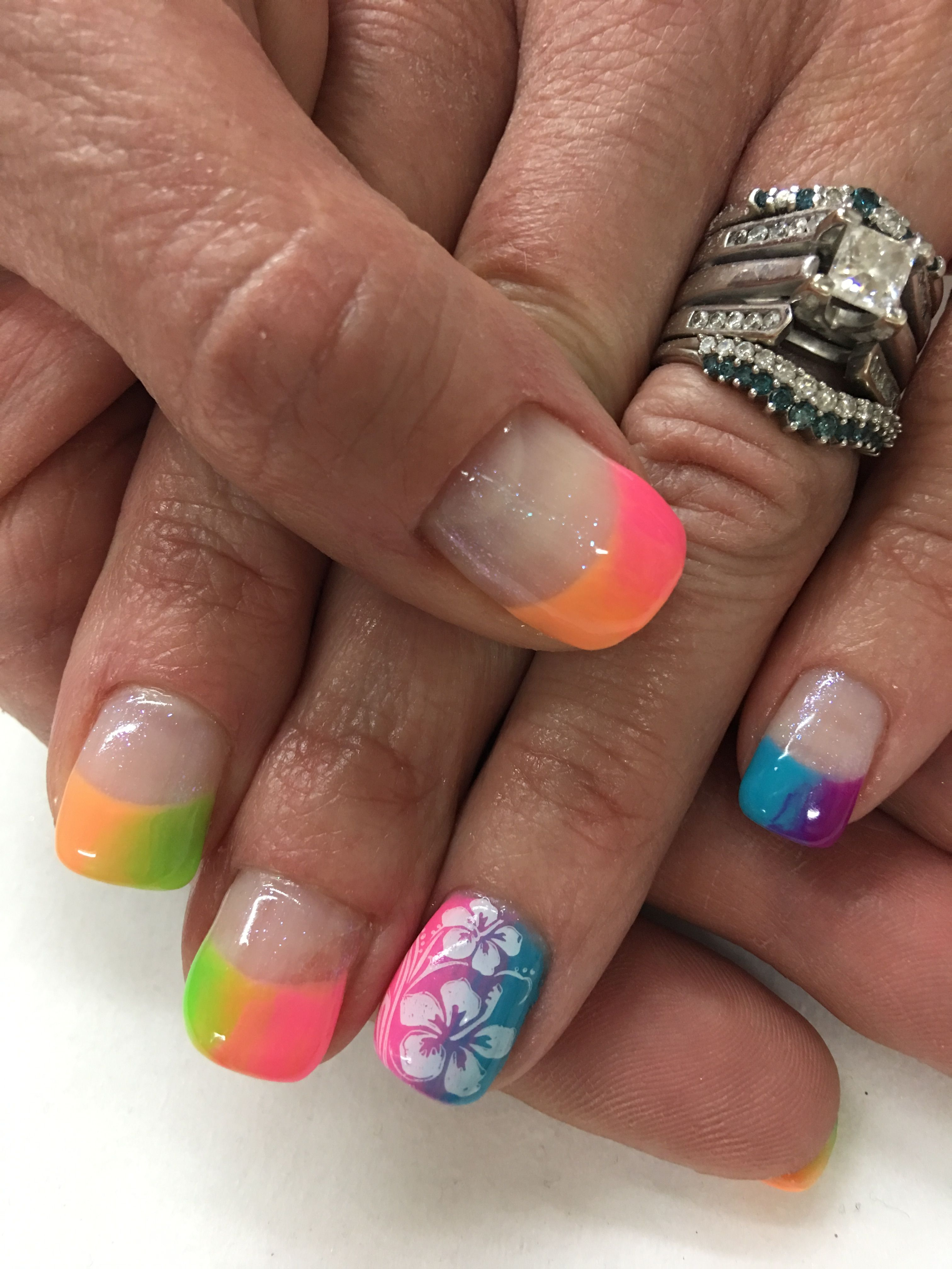 Rainbow Ombré French Stamped Gel Nails | Gel Nail designs | Pinterest