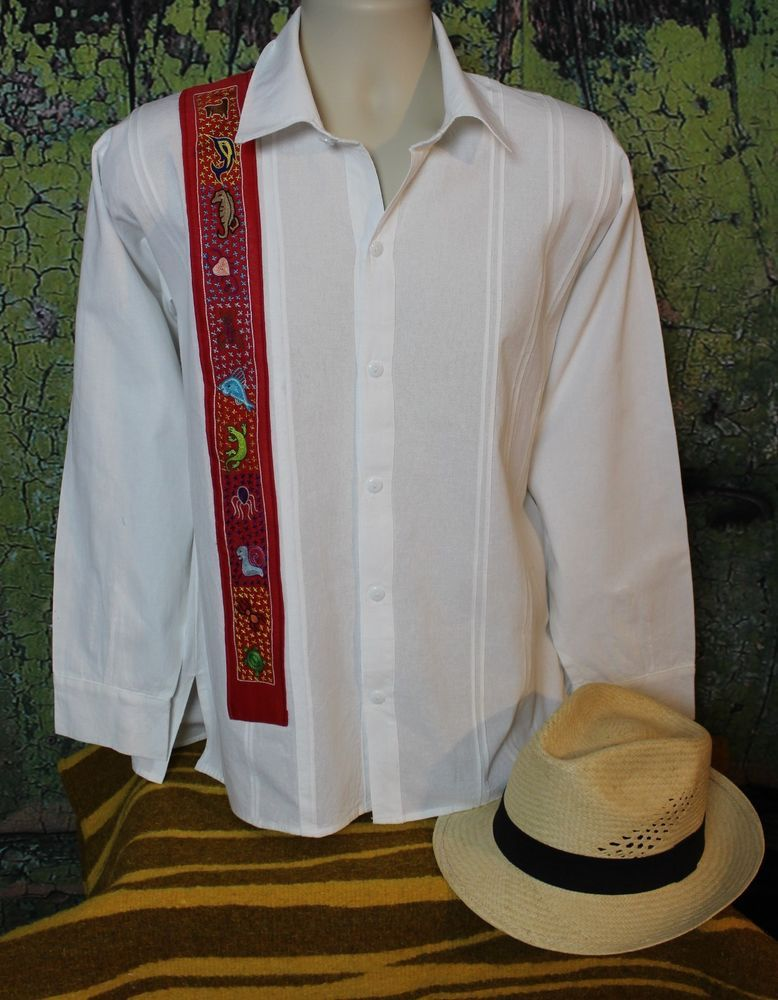 1917af17cf Men s Guayabera Shirt Hand Embroidery Sea creatures from Pinotepa Oaxaca  Mexican  Handmade  Guayabera