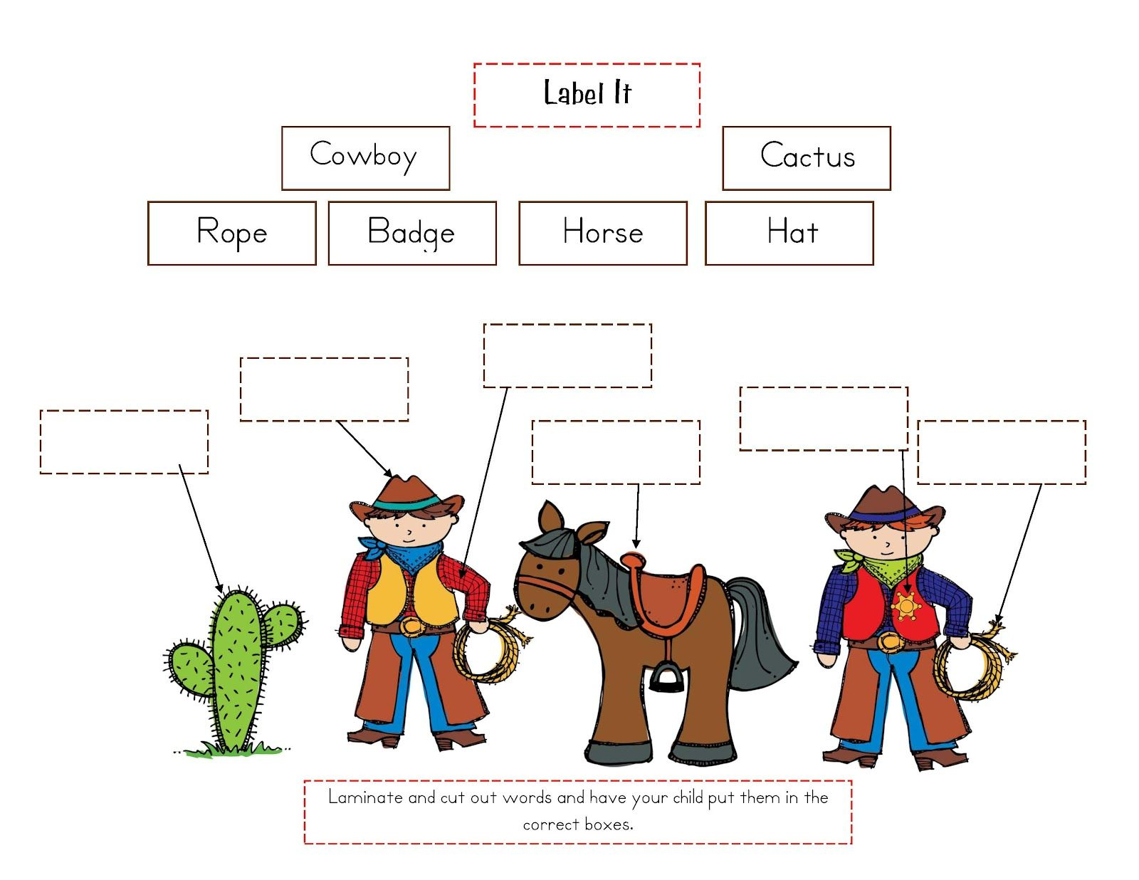 Cowboys Indians Worksheet