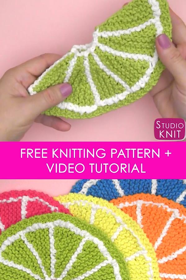 Fruit Citrus Slice Knitted Dishcloth Patterns