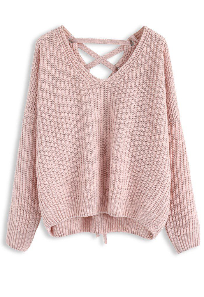 Focus on Lace-up Back Sweater in Pink - New Arrivals - Retro 1e9d024c2