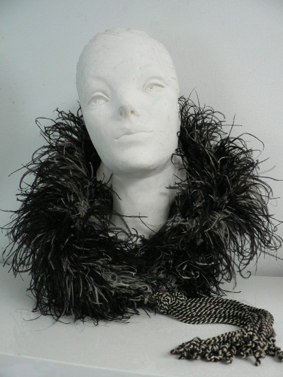 Vintage 1920s 30s flapper ostrich feather boa black ...