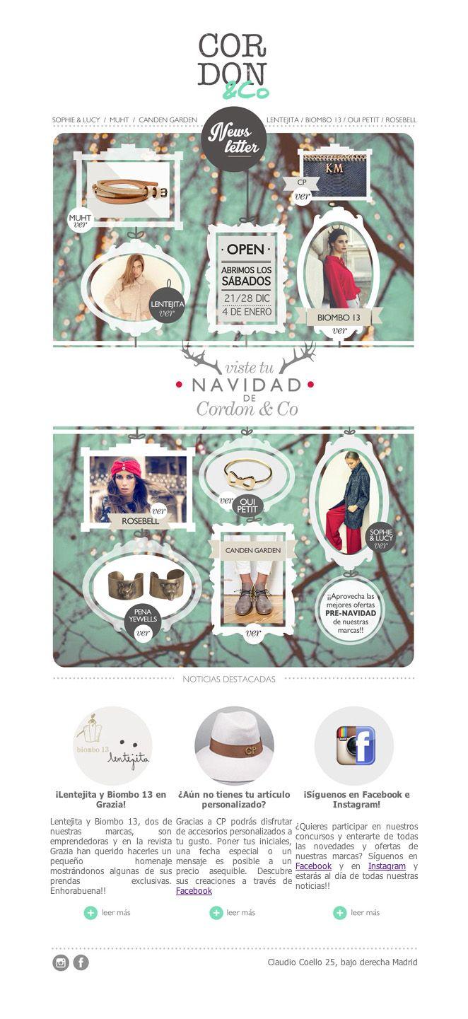 Newsletter Navideña para la tienda multimarca CORDON&Co