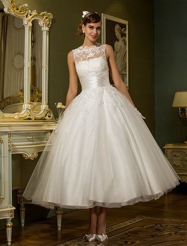 921c29563e99 Princess Illusion Neckline Ankle Length Tulle Wedding Dress with Appliques  Sash   Ribbon Button by LAN TING BRIDE