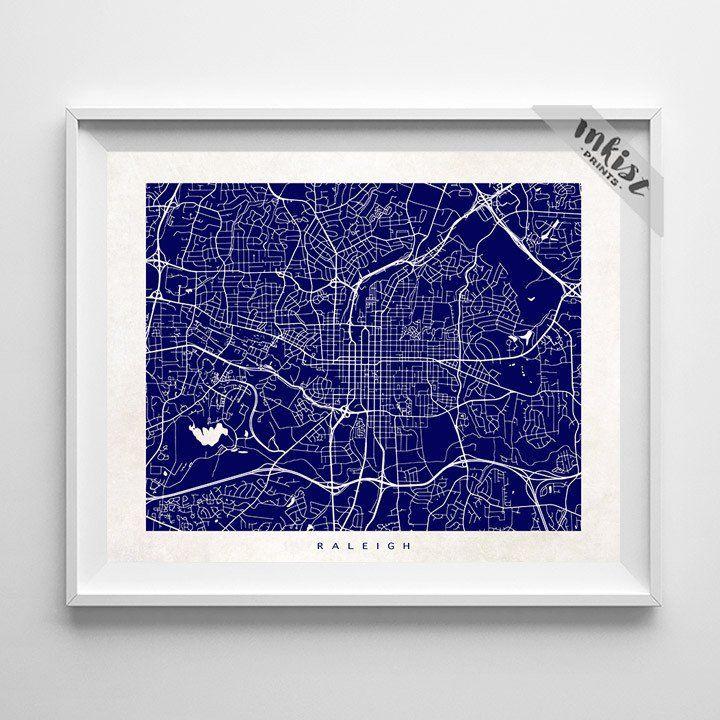 Usa Map North Carolina%0A Raleigh  North Carolina Street Map Print