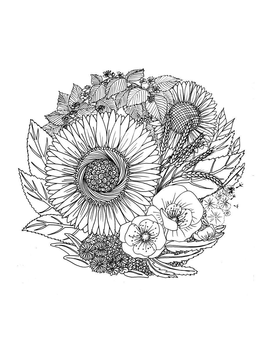 Coloriage gratuit à imprimer fleurs par Chocobo | Karten