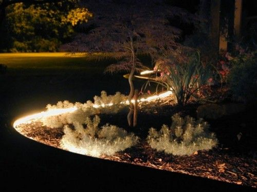 Line Flower Beds With Rope Light To Admire Your Beautiful Plants Day And Night. #gardenlig… | Driveway Lighting, Driveway Entrance Landscaping, Outdoor Patio Lights