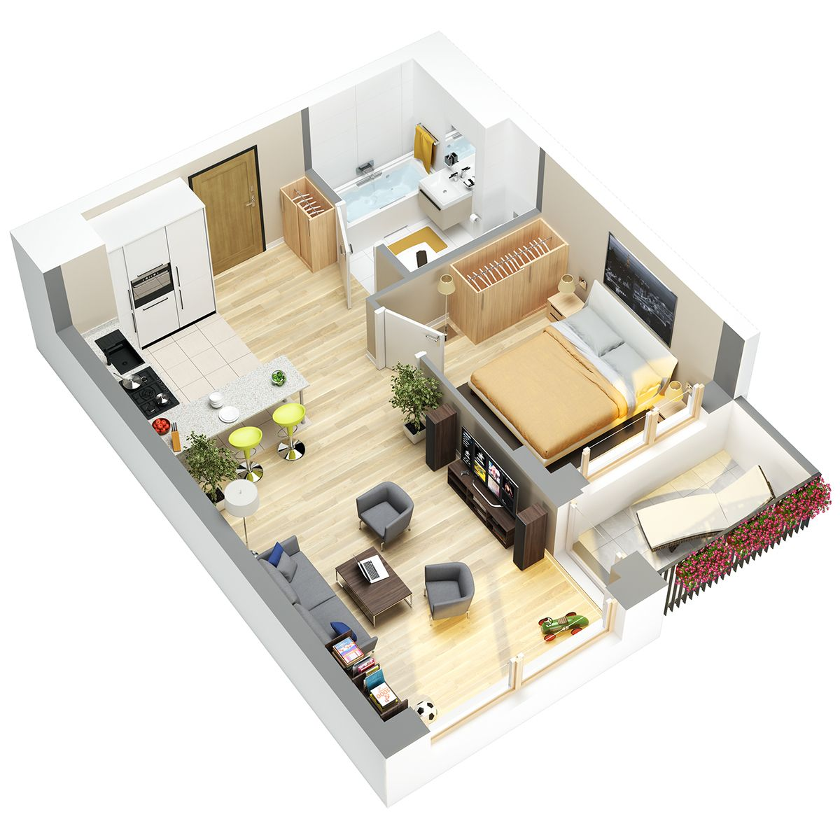 3D floor plans of flats. | Small house plans, Studio ...