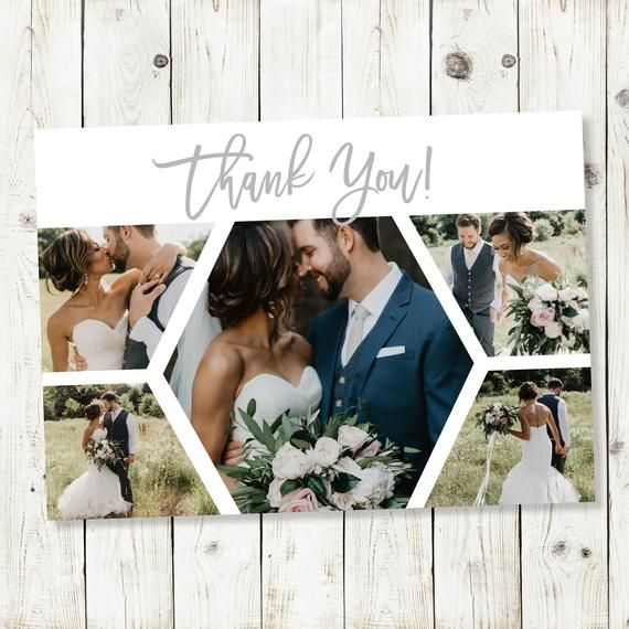 Wedding Thank You Cards Printable Thank You Card Template Custom Thank You Card Full Photo Collage P #businessthankyoucards