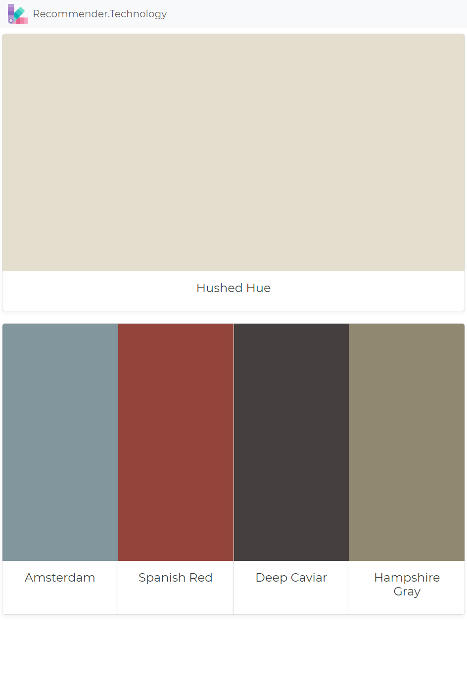 Hushed Hue Amsterdam Spanish Red Deep Caviar Hampshire Gray Paint Color Palettes