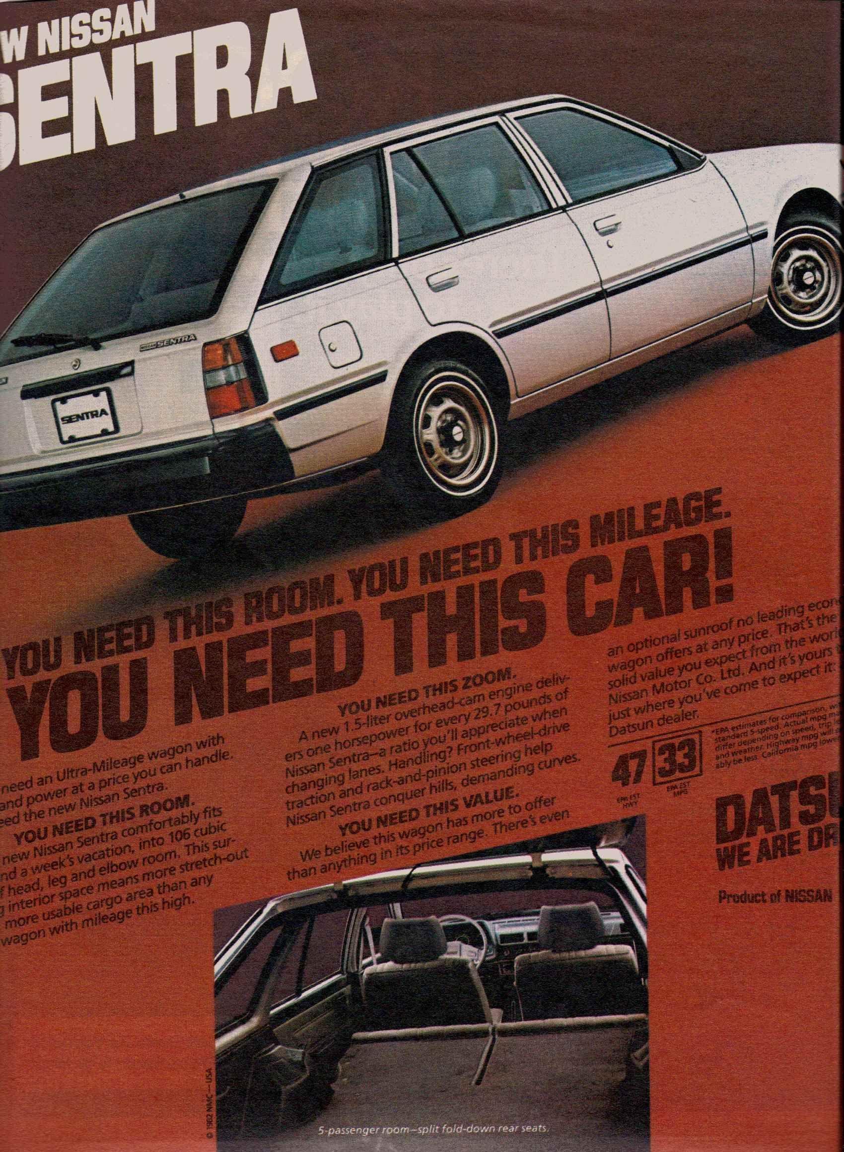 1982 Nissan Sentra wagon ad | Vintage Nissan Vehicle Ads ...