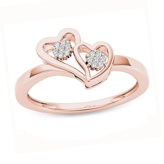 Diamond Accent Double Heart Ring In 10k Rose Gold Heart Ring Fashion Rings Rose Gold Diamond Ring