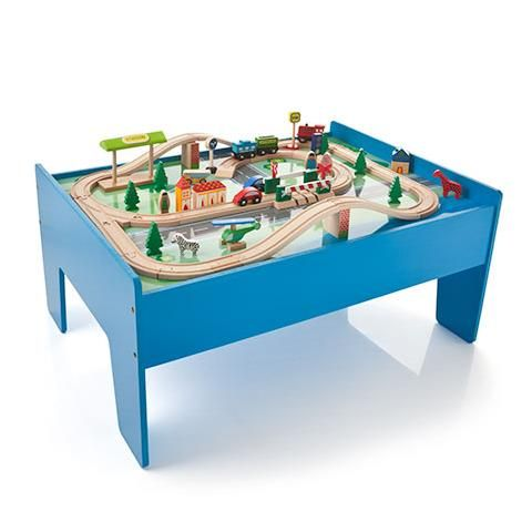 Wooden Train Set With Table 60 Pieces Kmart 45